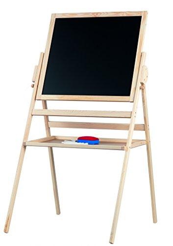 BAKAJI Lavagna in Legno a cavalletto - Altezza 110 cm Circa - Bifacciale, con gessetti e cancellino, e Piano di appoggio