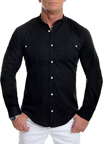 D&R Fashion Herren Elegantes Hemd mit Stehkragen Slim Fit Weiß Schwarz Baumwolle