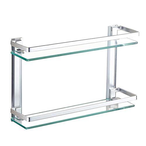 HYYDP Estantes para Ducha Montado en la Pared de Acero Inoxidable baño de Vidrio Estante, de Nivel 2 Barritas de Cristal Estantes de Toalla con los Ganchos, Plata (Size : 60cm)