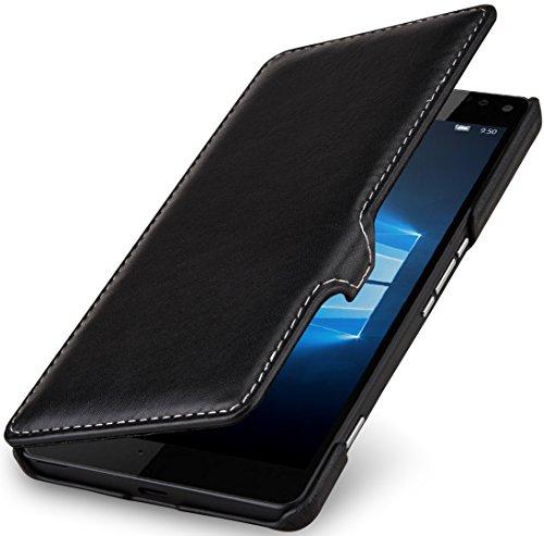 StilGut Book Type Case mit Clip, Hülle aus Leder für Microsoft Lumia 950 XL / 950 XL Dual SIM, Schwarz Nappa