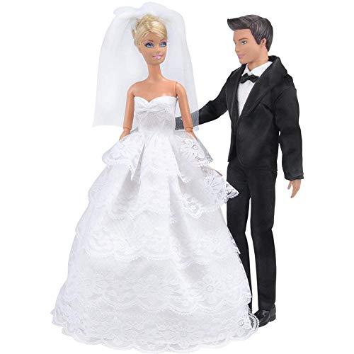 E-TING Prinzessin Hochzeit Kleid Kleid Abend Party weißer Spitze Partykleid Stickerei mit Schleier Outfit Set + Formellen Anzug Outfit für Barbie-Ken-Puppe