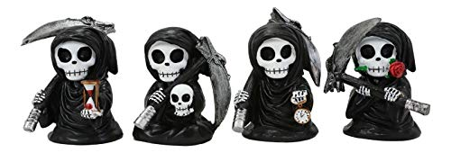 Chibi Grim Reapers with Scythe Holding Hourglass Skull Clock and Rose Figurines - Favorite Décor!!!
