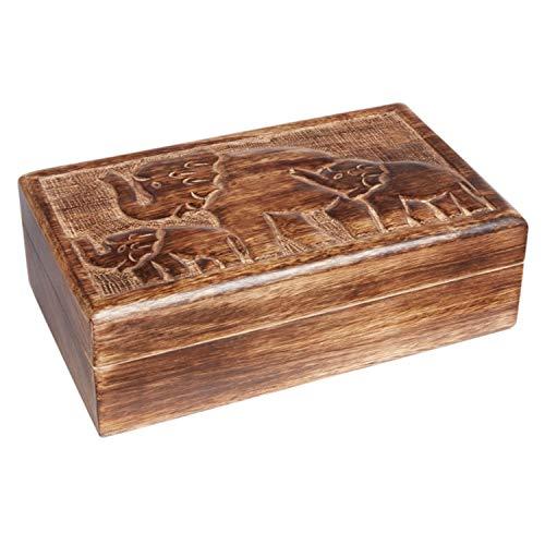 Orientalische kleine Aufbewahrungsbox mit Deckel Sadio 25cm groß | Orientalischer Schmuckkästchen für Mädchen und Damen zur Schmuckaufbewahrung | Marokkanische Schatulle Box aus Holz