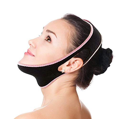 V Line Face Slimming Mask Chin Lifting Belt Sagging Skin Double Chin Reducer Face Lift V Shaped Contour Tightening Strap Reusable Anti-Wrinkle Chin Up Patch