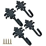 4 Pcs Black Cast Iron Decorative Wall Hooks - Christmas Tree Shape Coat Hooks - Hooks Wall Mounted for Key, Towel, Luggage , Bags, Cup, Hat Indoor and Outdoor - Screws for Mounting Included