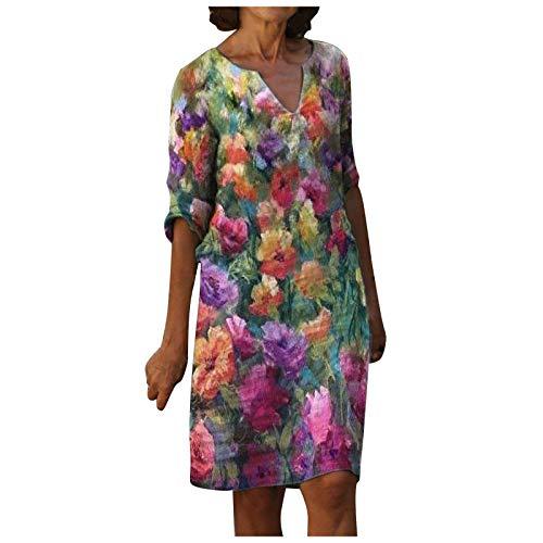 Damen Kleid Sommerkleider V-Ausschnitt Freizeitkleider Leinenkleid Blusenkleid Knielang Damen Retro Style Print Shirt Baumwolle Und Leinen Lässig Plus Größe Lose Tunika Tuchkleid
