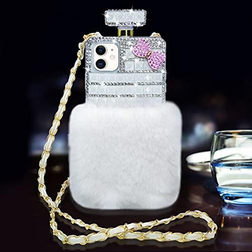 LUVI for iPhone 11 Plush Case Bling Diamond Glitter Crystal Rhinestone 3D Flower Perfume Bottle Cover with Neck Strap Crossbody Chain Case Furry Fuzzy Hair Case for Girls Women White