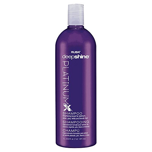 RUSK Deepshine PlatinumX Shampoo, 33.8 Oz, Gentle Cleansing Shampoo, Brightening Boost for Platinum, Silver, Gray, White, and Blonde Hair, Removes Yellows to Brighten Hair