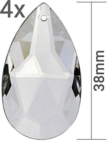 Kristall Sonnenfänger 4er Set Facetten Kristallglas Tropfen Wachteln 38mm zum Aufhängen als Fensterschmuck & zum Basteln Fengshui 30% PbO Bleikristall Mobiles