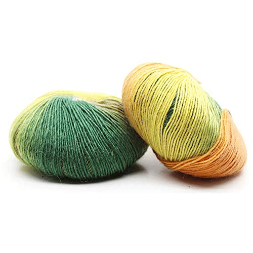 Geshig Lange Regenbogenfarbene Häkelgarne Strickwolle für Mützen Schal Beanie 4#