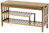 Pared pintura Zapatero Zapato Cambio Cambio Banco Zapato Gabinete de Almacenamiento de bambú componente del Bastidor Almacenamiento de Las heces 90x30x50cm Taburete Cambiar Zapatos