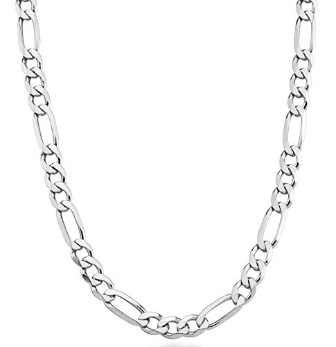 Miabella 925 Sterling Silver Italian 7mm Solid Diamond-Cut Figaro Link Chain Necklace for Men, 18, 20, 22, 24, 26, 30 Inches (24 Inches)