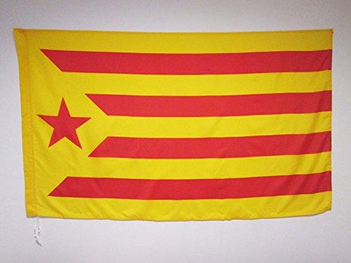 AZ FLAG Bandera de CATALUÑA ESTELADA VERMILLA 150x90cm para Palo - Bandera Catalunya INDEPENDENTISTA GROGA 90 x 150 cm