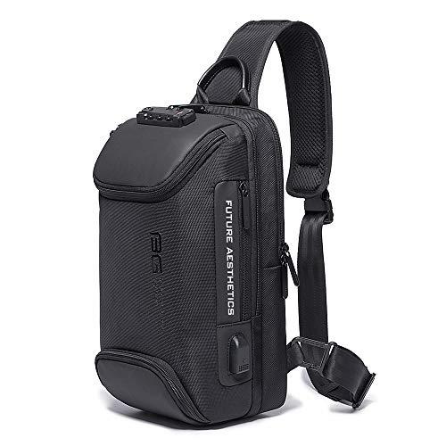 OZUKO Sling Bag Crossbody Bolsos Bandolera Hombre, Bolsa Antirobo de Hombro Bandoleras Cruzada con USB Bolsa de Mochila Sling Bag para Negocio Ciclismo Viaje (Negro)