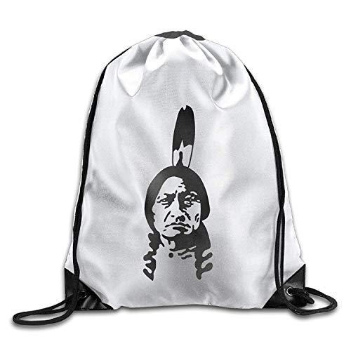 Setyserytu Sporttasche mit Kordelzug, Sportrucksack, Reiserucksack, Indians Funny Gym Drawstring Bags Travel Backpack Tote School Rucksack