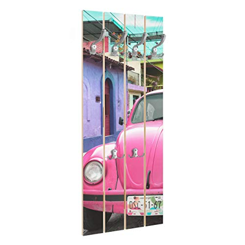 Bilderwelten Wandgarderobe Holz - Pink VW Beetle Garderobenpaneel + Haken Chrom, 100x40 cm