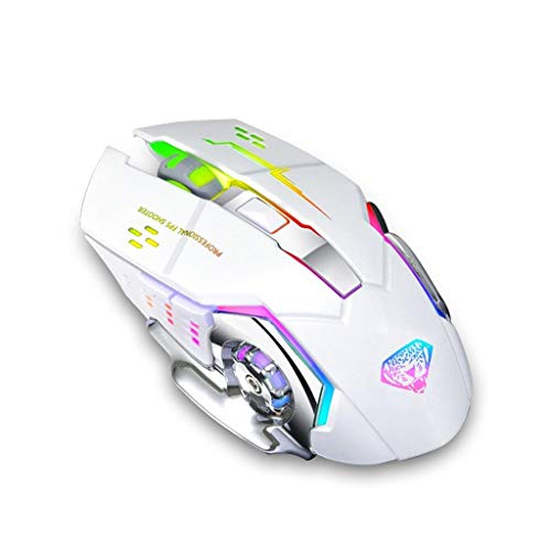 Divipard Q3 drahtlose, Silent Click, Gaming Maus für PC oder Mac ; 2,4GHz Funkmaus ; optischer Sensor bis zu 3200 DPI ; Hohe Präzision für Pro Gamer ; 6 Tasten und 7 Farben RGB Atemlicht (White)