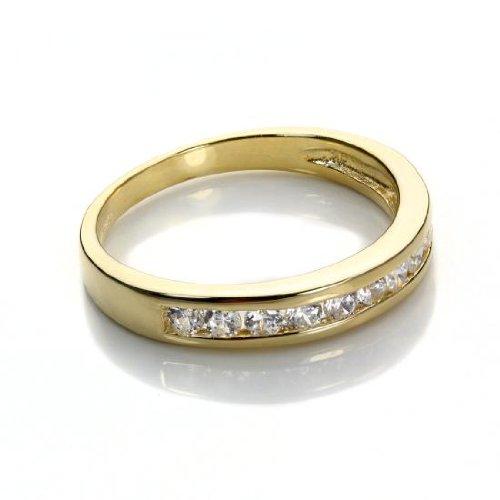 Anello veretta in Oro Giallo 9kt e Cristalli CZ - Misura 11,5 (Disponibile 10-17,5)