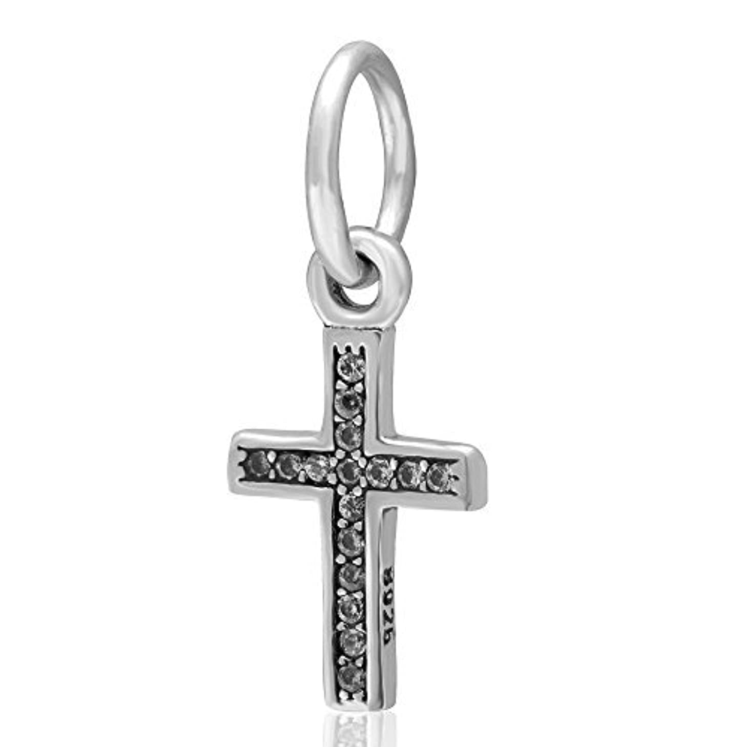 Symbol of Faith Charm - 925 Sterling Silver with Clear Zircon Stone Keep Faith Pendant Charm Bible Beads