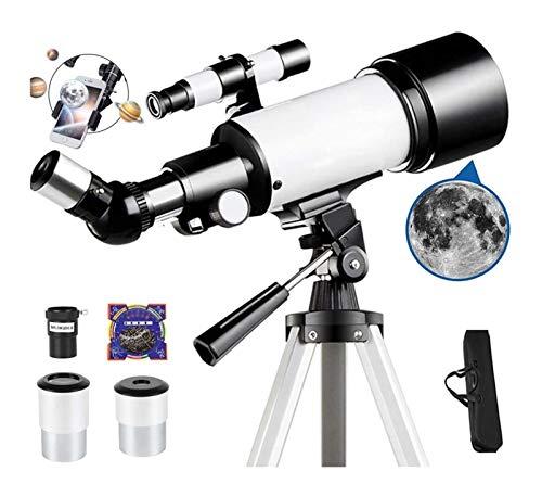 DZHTSWD Astronomie Fernglas, Teleskop Reisebereich 70mm / 400mm astronomisches Webstuhl-Teleskop mit Stativfinder-Umfang Tragbares Teleskop for Kinder Anfänger Erwachsene