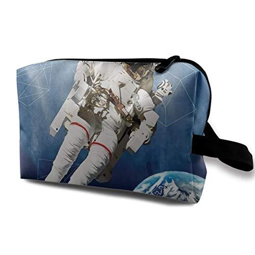 Astronaut On Grunge Half Done Männer & Frauen Kosmetische Reisetasche mit großer Kapazität, tragbare Kosmetiktasche Accory Aufbewahrungstasche