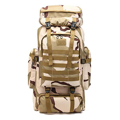 PULUSI Rucksack, hohe Kapazität, 80 l, Outdoor Camouflage Tartical Wandern Daypacks Wasserdicht Militär Taschen für Männer Reisen Camping Jagd Trekking Klettern Rucksack, Herren, weiß/grün