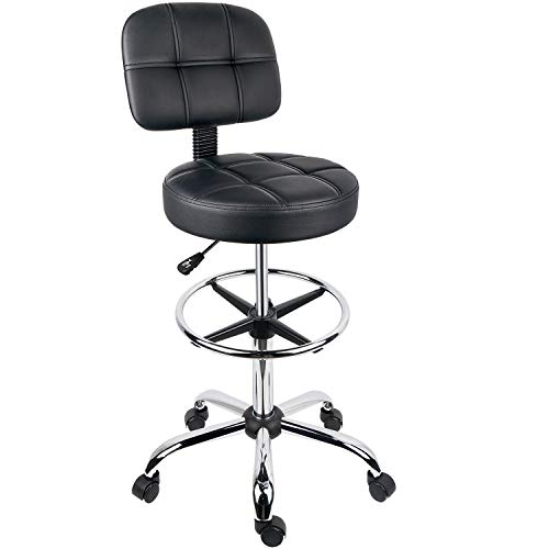 Leopard Round Drafting Chair, Adjustable Swivel Tall Drafting Stool Office Chair for Standing Desk, with Back and Footring - Black (Black)