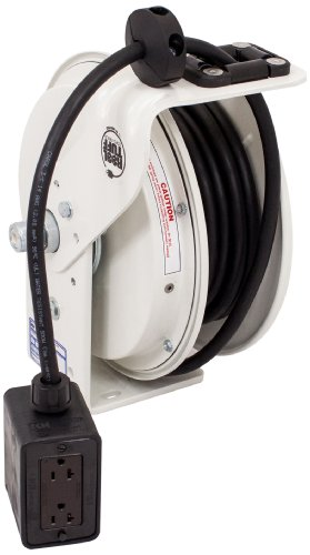 KH Industries RTB Series ReelTuff Power Cord Reel, 12/3 SJOW Black Cable and Four Receptacle Outlet Box, 20 Amp, 50' Length, White Powder Coat Finish