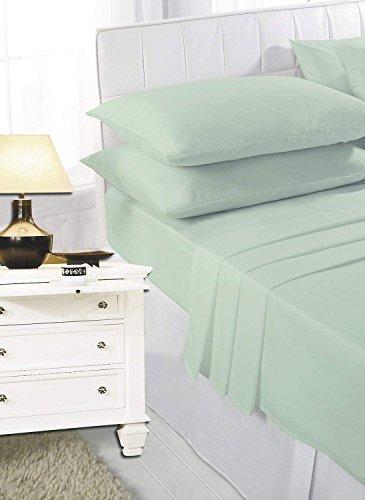 Roy Textile - Juego completo de sábanas de polialgodón de 4 piezas, sábana bajera, sábana encimera, fundas de almohada, individual, doble, king y super king, algodón poliéster algodón, Verde, suelto