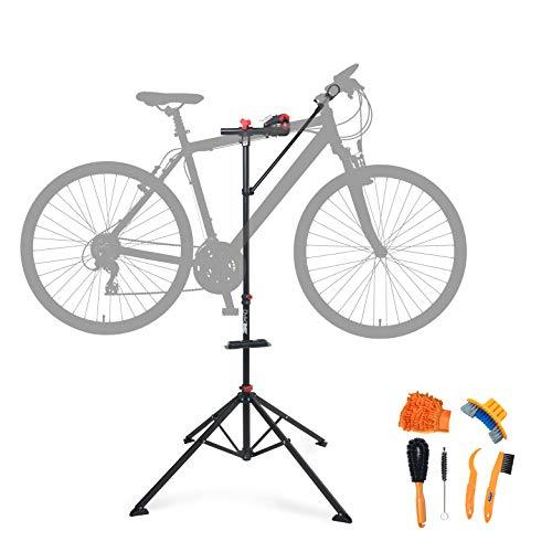 BYKBOX Fahrrad Montageständer mit Lenkerhalter - hochwertiger Reparaturständer für Fahrräder & E-Bikes (bis 30 kg) - inkl. Reinigungsset