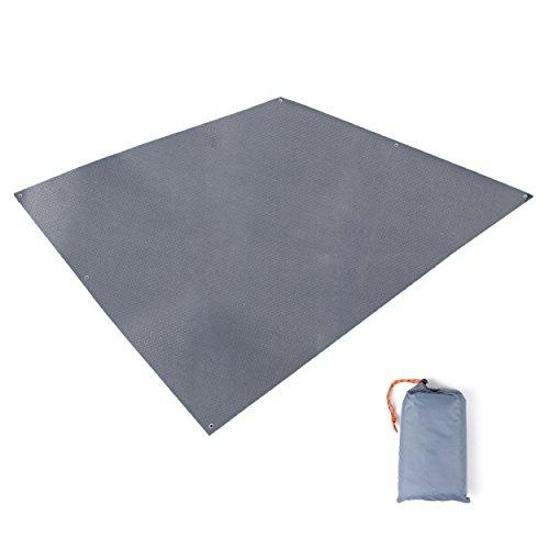 TRIWONDER Tapis de Sol Camping 215 x 215 cm Tarp Ultra Léger Bâche de Tente Anti-Pluie Imperméable Abri de Randonnée pour Pique-Nique Plage (Gris - 215 x 215 cm)