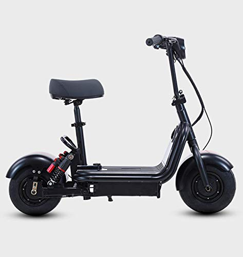 Patinete eléctrico para adultos, mini moto eléctrica de dos plazas 48V12A15A18A20A, pantalla LED con motor de 500 W, patinete eléctrico plegable portátil de 10 pulgadas, negro 1,18 Ah