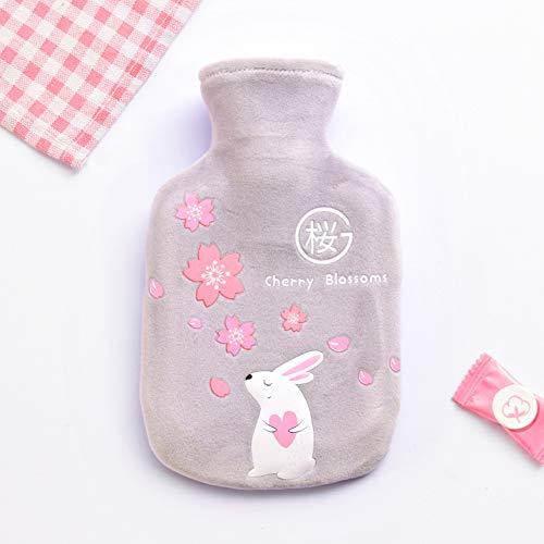 Alician - Bolsa de agua caliente de felpa para calentar las manos, color Trompeta de conejo cereza fondo gris 350ML talla única