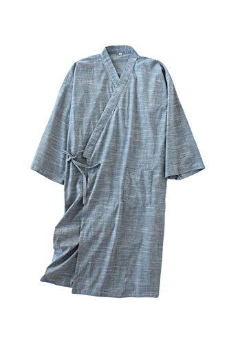 Camisones De Hombre Albornoz Sudor Vaporizador Kimono Japonés Yukata Pijamas Greyblue S