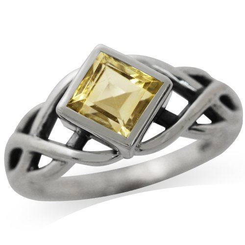Silvershake 1.14ct. Natural Citrine 925 Sterling Silver Celtic Knot Solitaire Ring Size 10