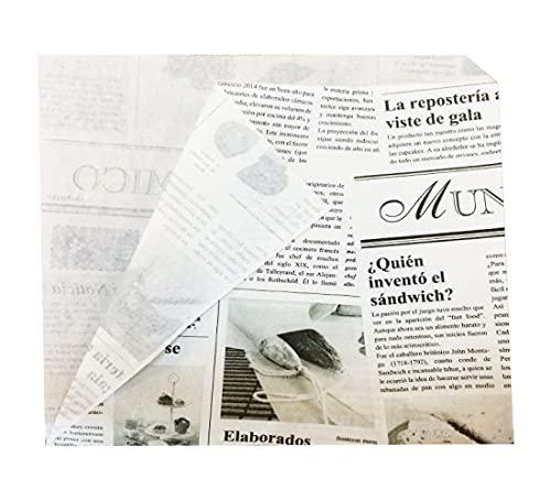 Gráficas Salaet – 100 Bolsas de papel antigrasa con corte lateral – Impresión tipo periódico – 17 x 17 cm – Papel Kraft – Envolver alimentos – Uso alimentario