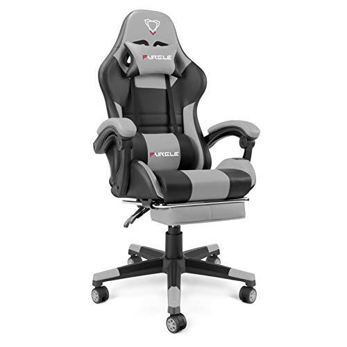 Furgle Chaise de bureau à dossier haut avec dossier en similicuir et accoudoirs réglables, chaise de jeu vidéo pivotante ergonomique avec mode à bascule (Noir/gris)