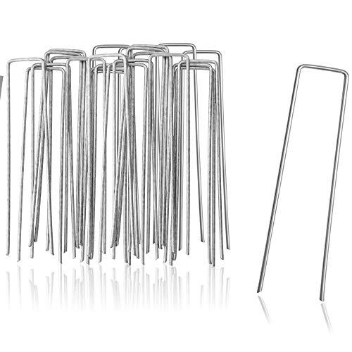 com-four® 25x Erdanker aus beschichtetem Stahl - robuste Erdnägel zur Befestigung von Unkrautvlies und Folien - Bodenanker für Garten und Camping - eckig (025 Stück - 150x25x2.7mm)