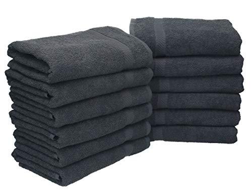 Betz 12 Stück Handtuch Set Palermo 100% Baumwolle 12 Handtücher Größe 50 x 100 cm Farbe anthrazit