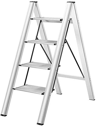 Yxsd Multi-uso de las escaleras de servicio pesado Paso escalera plegable Escaleras ligeros con aluminio resistente y antideslizante Amplia pedal for la seguridad del taburete de paso de cocina portát