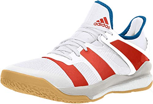 adidas Men's Stabil X Volleyball Shoe (12.5, White/Red)