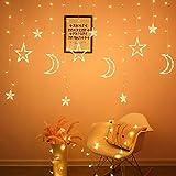 NAYY Linterna de la Estrella de la Luna Cortina de luz LED Luces de Navidad Luces de la decoración Luces de Navidad Ligera de la Secuencia Estrella y la Luna Ambiente Luces Que Destellan