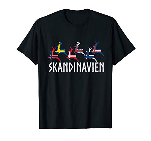 Skandinavien Rentier Flaggen Elch Ren T-Shirt
