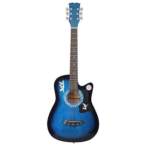 HO-TBO gitaar, 1 student lichte 38 inch 6 snaren akoestische gitaar houten gitaar voor beginners met gitaartas/pick/riem uitgebalanceerd en sterke stem