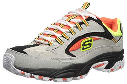 Skechers Stamina Cutback, Zapatillas para Hombre, Gray Leather/Orange & Lime Mesh/Trim Gyor, 40 EU
