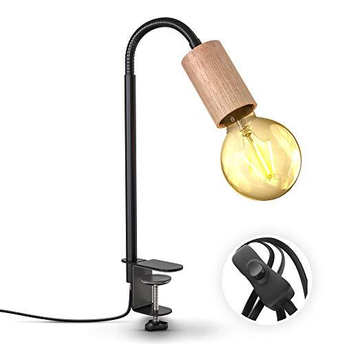 B.K.Licht lámpara de lectura giratoria con interruptor de cable I terminal de tornillo I E27 I Lámpara de pinza de 1 llama I metal - madera I negro