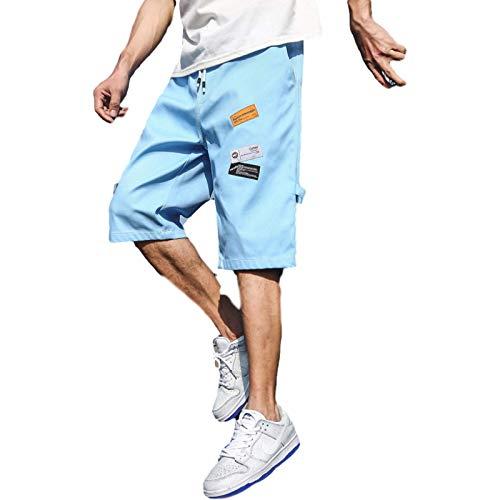 Pantalones Cortos de Mezclilla para Hombre, Pantalones Cortos Deportivos de Tendencia de Ocio de Verano, Pantalones de 7 Puntos con Estampado de Personalidad de Playa Suelta 5XL