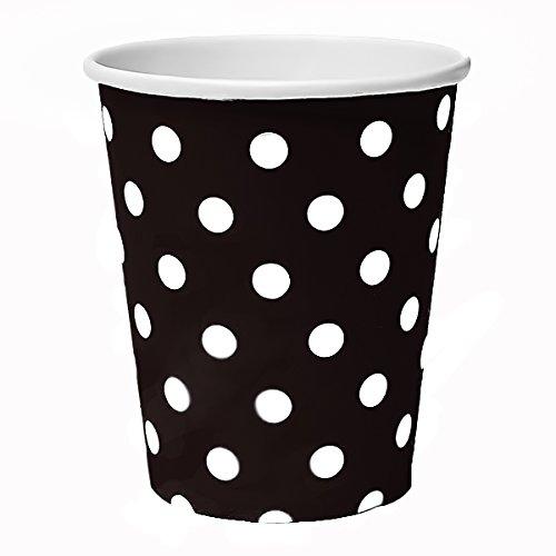 50 vasos desechables de 230 ml, diseño de lunares, color negro, para bebidas, aperitivos, bebidas calientes y frías (negro)