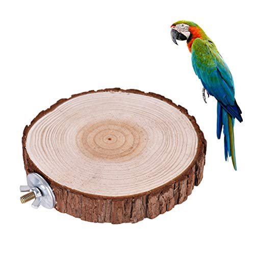 VILLCASE Trampolín de Madera Redondo Pájaro Loro Perca Plataforma Soporte Estante Juguete Pequeños Animales Jaula de Hámster Soportes (8-12 Cm)