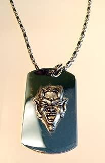 Devil Lucifer Satin Pewter Emblem Logo Symbols - Military Dog Tag Luggage Tag Key Chain Metal Chain Necklace